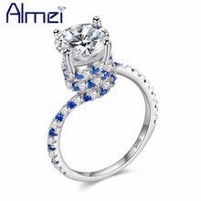 Almei Свадебные 2017 милые кольца с большим камнем для женщин