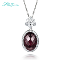 I&Zuan Diamond jewelry 925 Sterling Silver Pendant Necklace For Women With Natural Garnet Rose Purple Stone Party Accessories