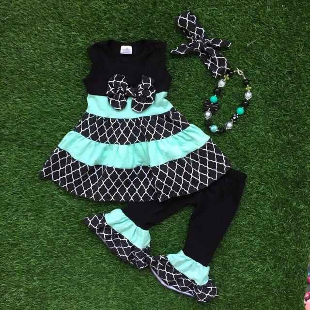 2016 новые девушки летом снаряжение девушки Quaterfoil одежда бутик рюшами одежда дети с бантом комплект соответствующие аксессуары
