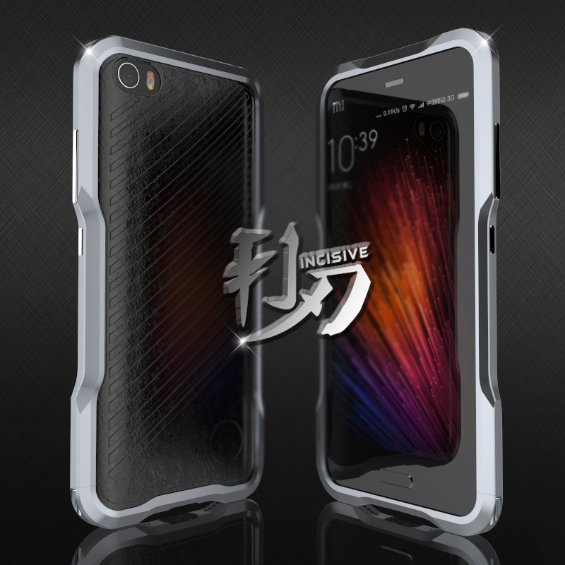 imágenes para Marco Del Metal de Aluminio de lujo + Cuero Genuino Tira de la Cubierta Trasera de Protección Para Xiaomi 5 M5 Mi5/Mi 5 Luphie Caso