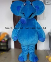 Lovely Blue Elephant Costume Adult With Cooling Fan Elephant Cartoon Characters Costume
