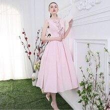 OMY076 Rosa 2016 A-line Cocktailkleider Tee-länge Chiffon Sleeveless Lace-up Kleider Für Besondere Anlässe