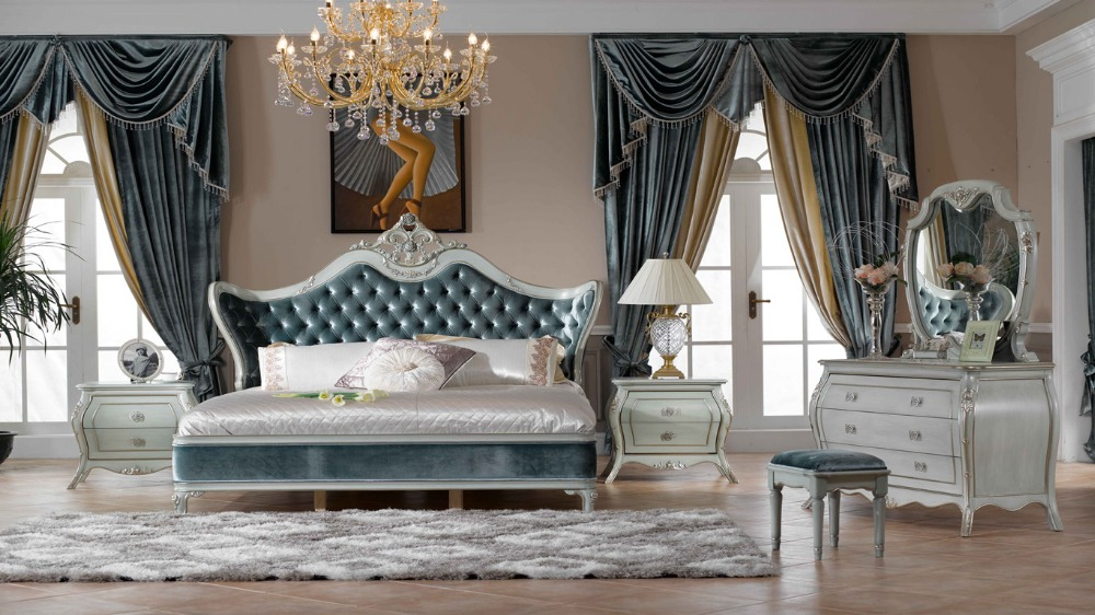 Italy Style European Classical White And King Size Bedroom Furniture Set 0402 713