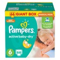 Diapers For Children Pampers Active Baby Dry 15+ kg Diaper 6 Size Nappy 66 Pcs Disposable Baby Diapers
