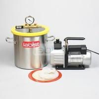 3.2 Gal (12.3L) Vacuum Chamber Kit with 6CFM (2.7L/s) 220V Vacuum Pump,25cm*25cm Stainless Steel Degassing Chamber