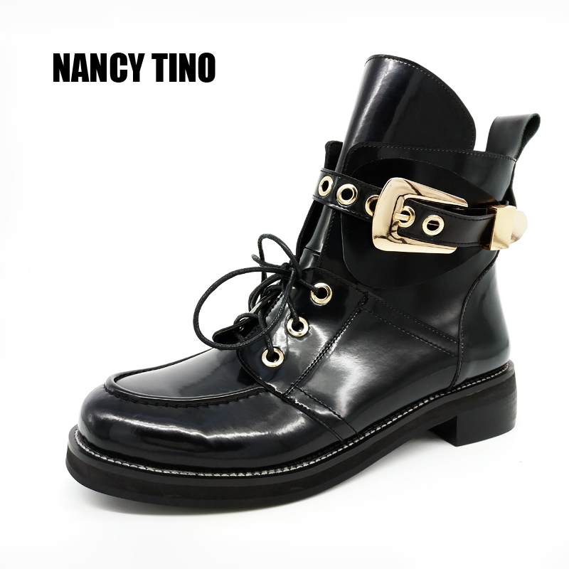 NANCY TINO 2017 New Women Ankle Boots Ladies Shoes Woman Leather Booties Buckle Personality Fashion Flat Motorcycle Boots