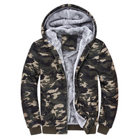 2016 Brand Male Hooded Jackets Printed Hoody Men Camouflage Coat Tracksuits Velvet Fleece Thick Camo Men