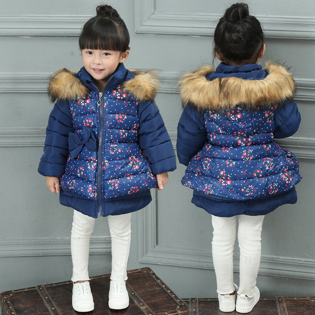 New Fashion Girls Jacket Winter,Children Winter Jackets Clothing,Kids Clothes Warm Winter Coat Child Outerwear Printed Flower