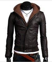 бесплатная доставка стильный свободного покроя lleather куртка для мужчин искусственная кожа с капюшоном на молнии верхней одежды черный / коричневый м-XXL 11066