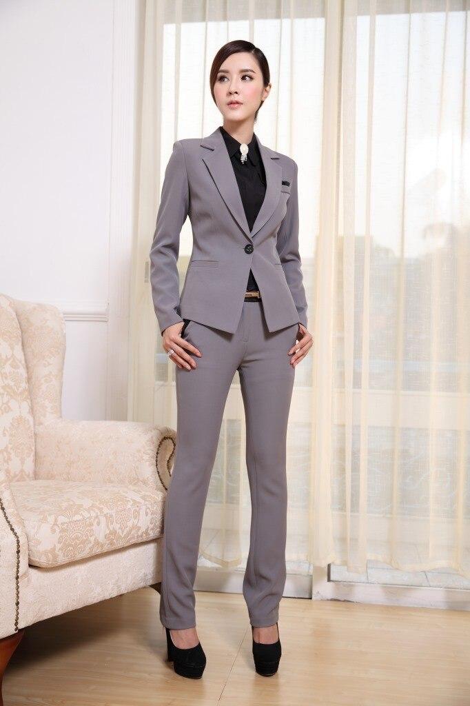 2016 Frauen Anzüge Formale Büro Hosen Anzüge Arbeitskleidung 2 Stück Set One Button Uniform Designs Blazer Anzug HüBsch Und Bunt