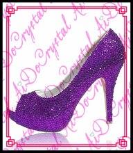 Aidocrystal Frauen abendschuhe mit lila kristall frauen pumpt mode hohe ferse schuhe handgefertigt 14 cm schuhe