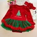 Детские младенческой хлопка с длинными рукавами комбинезон светло-голубое платье с белым снегом Рождественский средства восхождение одежды Дети