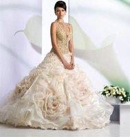 сексуальное спагетти ремень ожерелье / органза из бисера бальное платье пляж свадебное платье