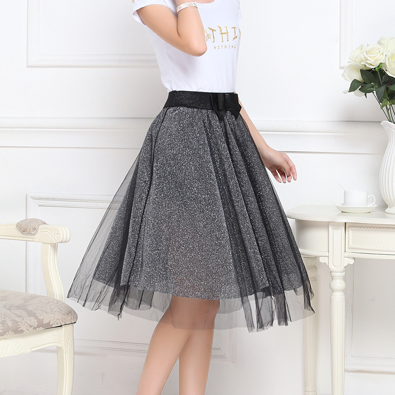 Net Yarn Ball Gown Korean Style with Bowknot Summer Skirt Golden Gray