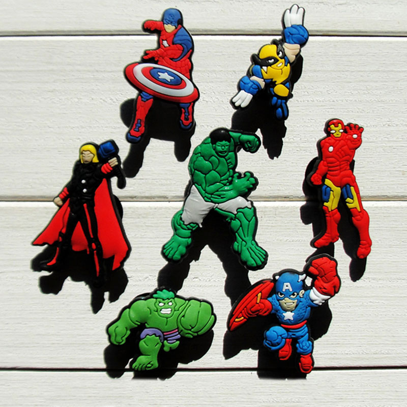 Free Shipping 7pcs Avenger 047B,PVC shoe decoration/shoe charms/shoe accessories  for clogs.Party gift, Birthday gift. кеды heathrow b shoe xsns