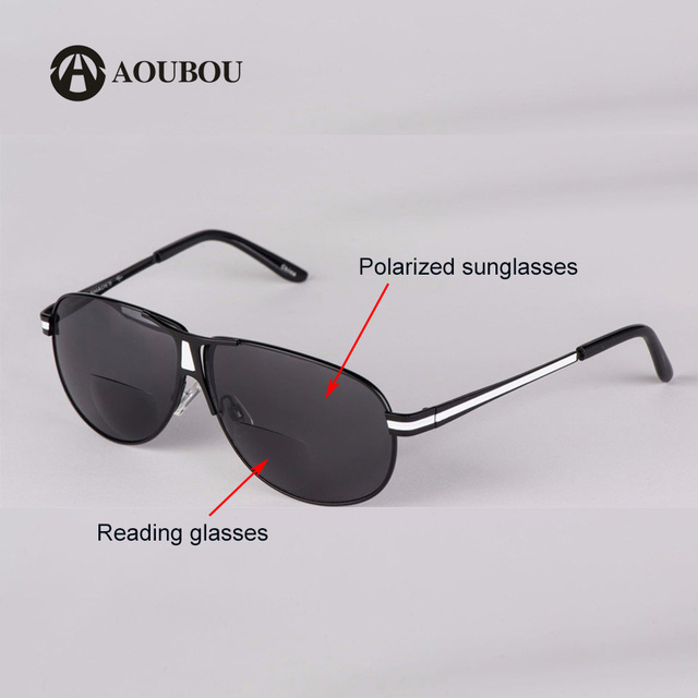 AOUBOU Bifocal Reading Glasses Unisex Diopter Glasses Male Polarized Sunglasses Presbyopic Eyeglasses +1.0+1.5+2.0+2.5+3.0+3.5