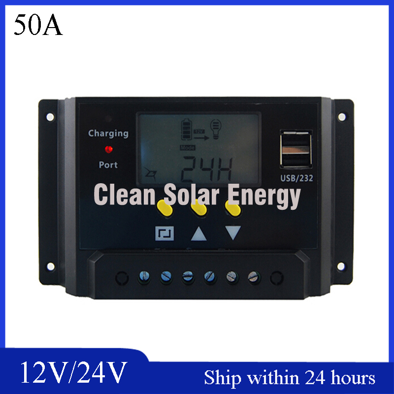 LCD Display 50A Solar Charge Controller PWM Mode with USB port/12V/24V Auto Identification Charging Controller for PV System 30a 12v 24v 36v 48v auto pwm solar charge controller lcd display with mt50 meter connect solar panels battery for solar system