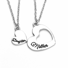 Europe romantic hollow mother daughter love heart pendant necklace  as Mother's Day gift