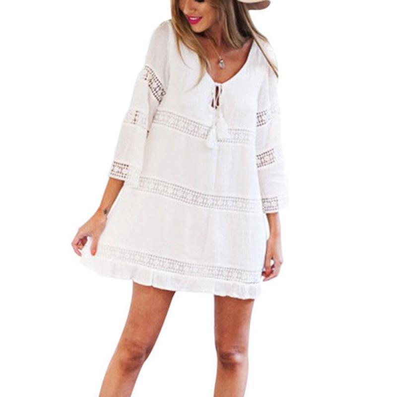 2017 Women Summer White Dress Three Quars