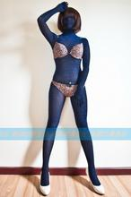 (MW802)Luxury Customize Korea imported shiny silk transparent zentai suit sheer nylon bodysuit Fetish Zentai Wear