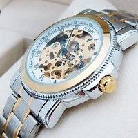 модные мужские золотые полые уникальный дизайн полный сталь автомат часы люкс мужские часы