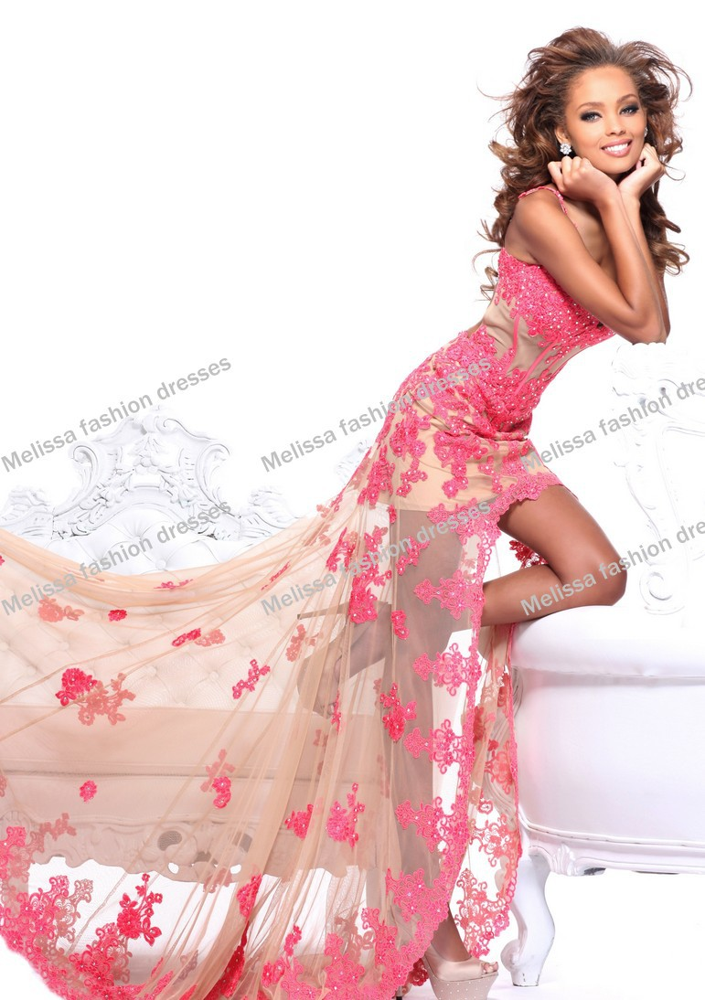 Custom Made Lace Lique Y Sheer Fabric Spaghetti Straps Sweetheart Neckline Short Front Long Back Prom Dresses