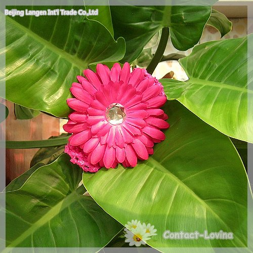 xms flowerоптовая 40% скидка 4 дюйма Гербера Маргаритка цветок+ повязка на голову+ клип туже детская голова подарок/xma