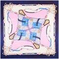 Cadena de la Bufanda Cuadrada de Seda de Las Mujeres Bufandas Color Patchwork Chales de Protección Solar Nuevo
