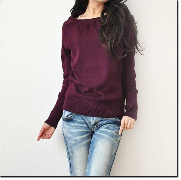 7e6305d45ad090 Free Shipping - Ladies Womens Lovely Unique Neck design Long Tops T shirt  Sweater Special Neckline
