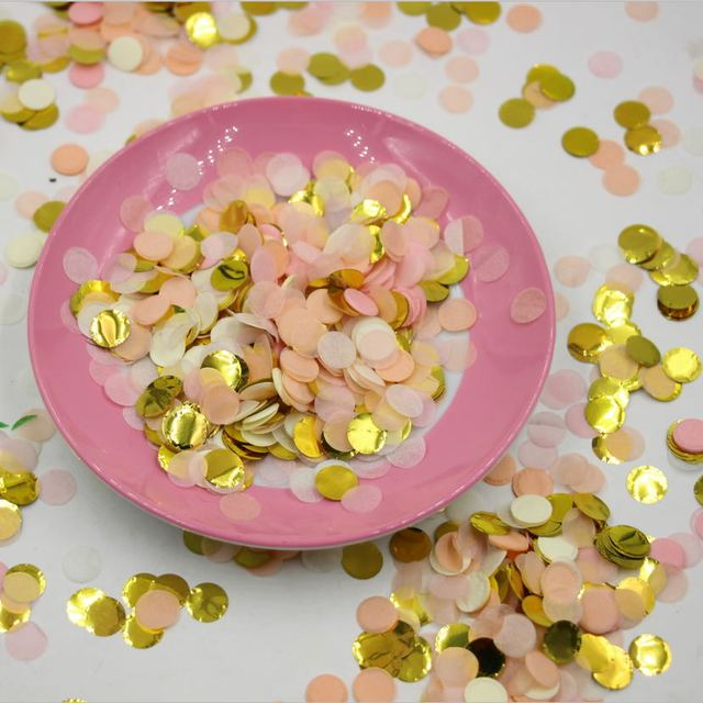Pink Gold White Wedding Paper Confetti Background Decor Birthday Party Supplies Tossing