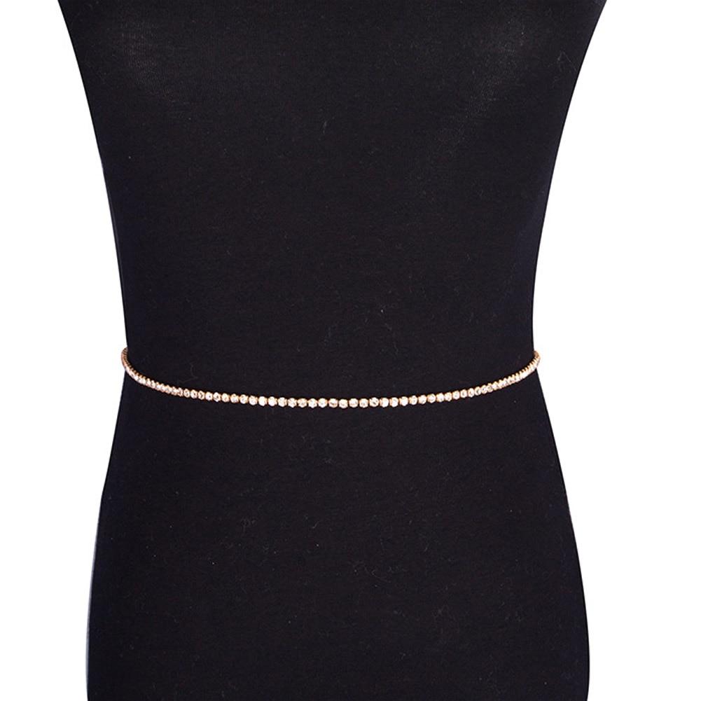 461f01334978 Color plata y oro color cristal de las mujeres atractivas cintura del  vientre Bisutería para el cuerpo que chispean el cinturón Cuerpo cadena  partido Club ...