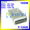 100 W mini voeding 3 uitgang 5 V 10A, 12 V 4A,-12 V 1A ac naar dc T-100B triple stroomvoorziening