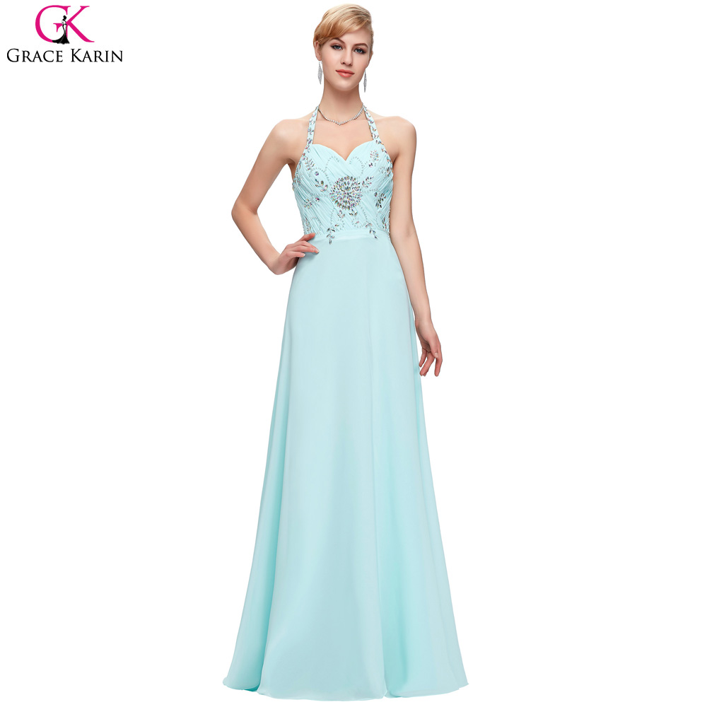 Light Blue Evening Dresses Long Elegant Gowns Grace Karin Halter ...