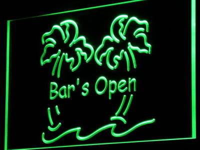 i814 Bar is Open Palm Tree Pub Beer Decor Neon Light Sign On/Off Switch 7 Colors