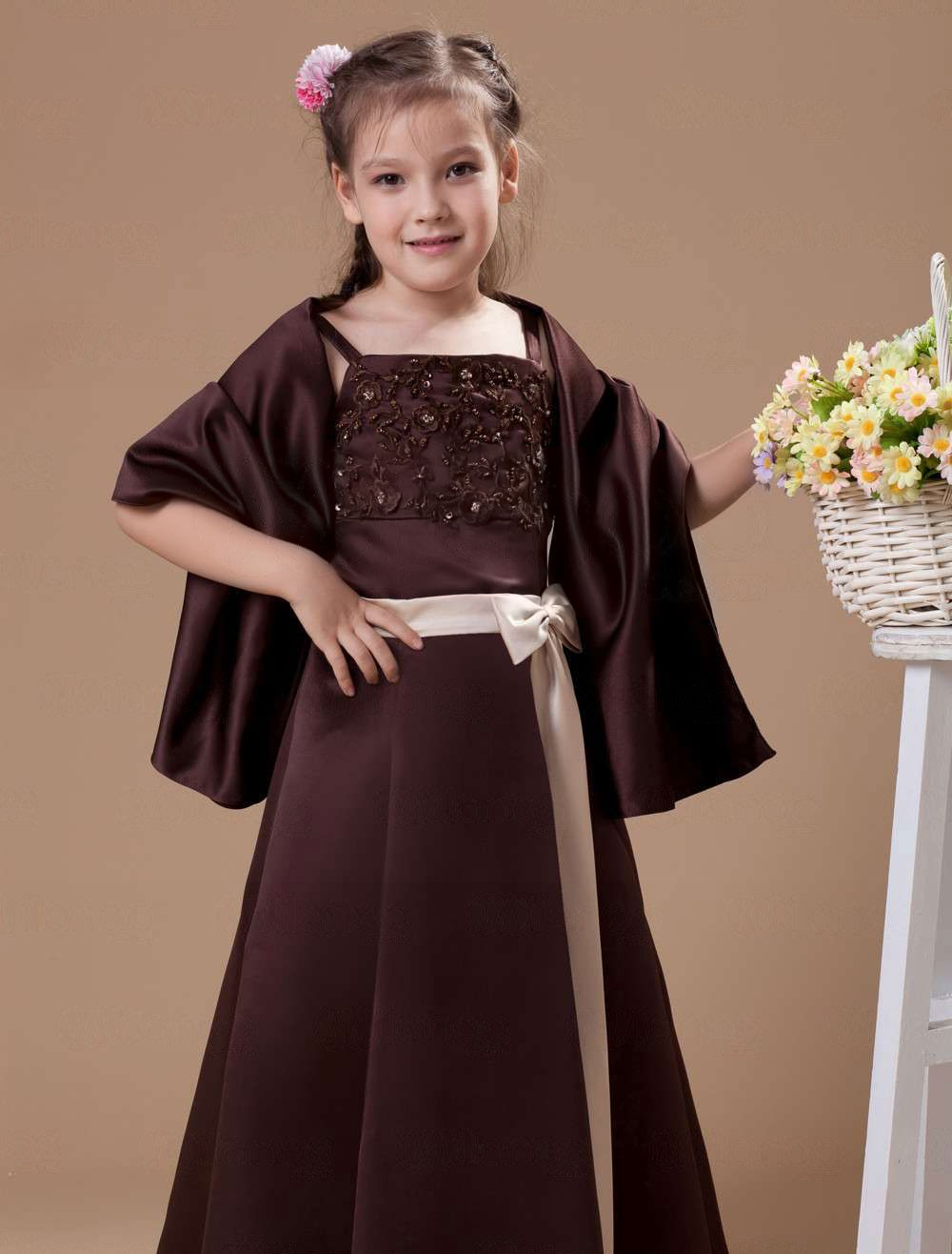 Attractive chocolate brown satin double spaghetti straps floor aeproducttsubject ombrellifo Gallery