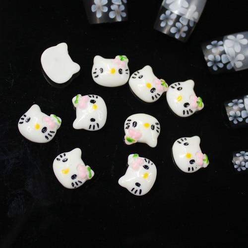 Прекрасный дизайн головы котенка материалы для дизайна ногтей полимерные бусы с плоской обратной стороной идеально подходит для дизайна ногтей DIY 200 шт/стиль