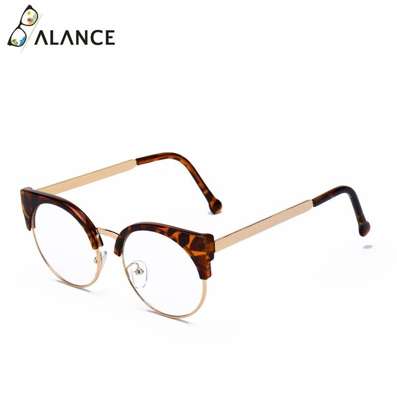 Женские простые очки кошачий глаз, полуоправа, прозрачные линзы, круглые очки, сексуальные винтажные очки кошачий глаз, оправа, брендовые дизайнерские очки - Цвет оправы: Leopard