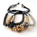 Anil Arjandas 2016 Fashion Bracelet Jewelry Hand Woven 5mm Stainless Steel Beads Macrame Crown Bracelets