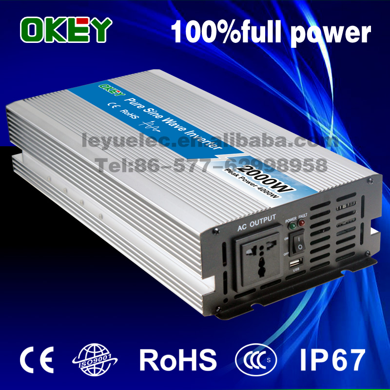 fast delivery single output 12V to 220V DC/AC type 2000W pure sine wave inverter charger solar system inverter universal socket full power pure sine wave 300watt inverter south africa output single type