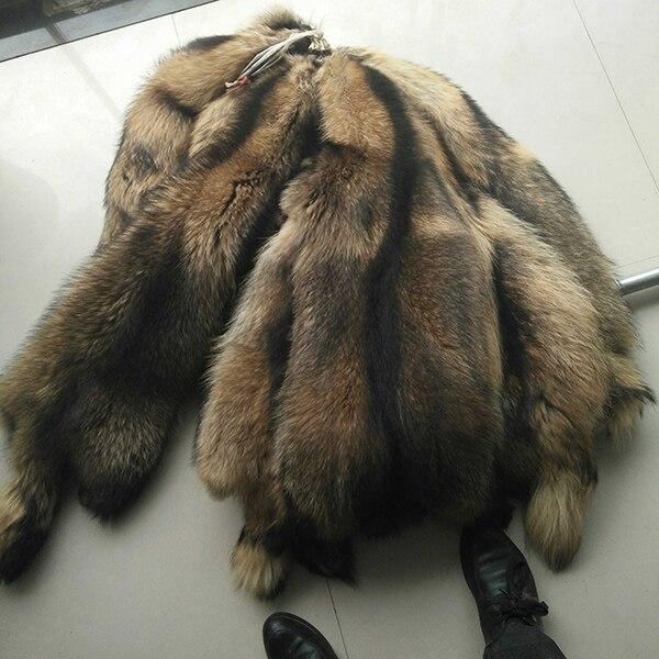 Bonne qualité vraie peau de raton laveur/peau de raton laveur bronzé peau de fourrure réelle - 4