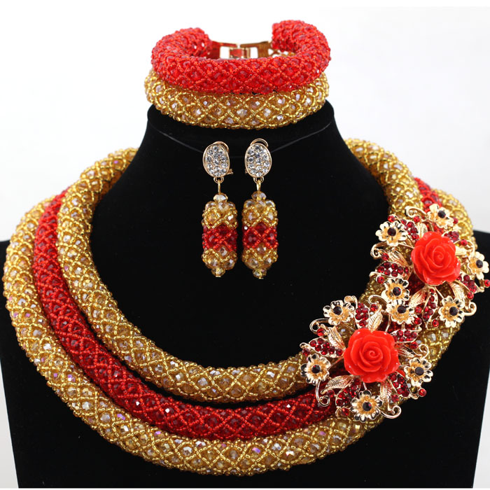 2017 Romantic Gold and Red Jewelry Coustume Sets African Beads Jewelry Set for Wedding Nigerian Bride Gift Free Shipping WA9052017 Romantic Gold and Red Jewelry Coustume Sets African Beads Jewelry Set for Wedding Nigerian Bride Gift Free Shipping WA905