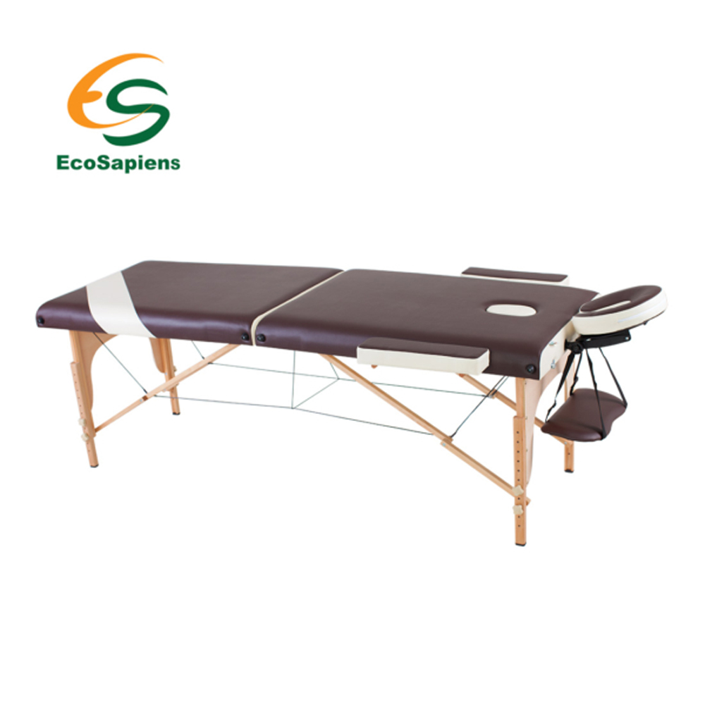 Two-piece folding wooden massage table in a cover and accessories Wellness hollow out two piece dress