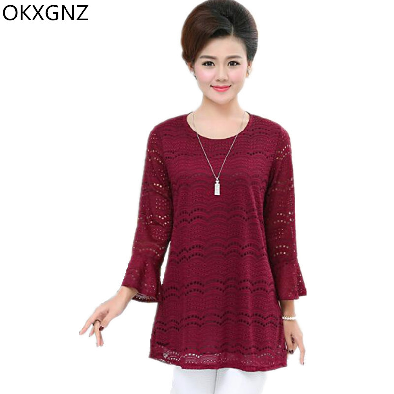 OKXGNZ Middle Aged Women T-shirt 2017Spring Long-sleeved Costume Big Yards Mother Tops Solid Color Speaker sleeves Lace Tops 177
