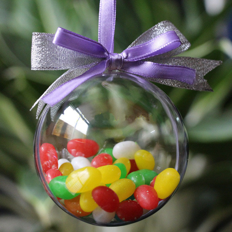 10pcs DIY Romantic Christmas Decorations for Tree Hanging Home Ball Transparent Open Plastic Cristmas Clear Bauble Ornament Gift