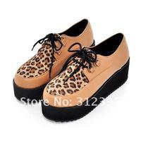 бесплатная и британский леопард, босоножки, панк гот высокой платформе плоские лианы туфли