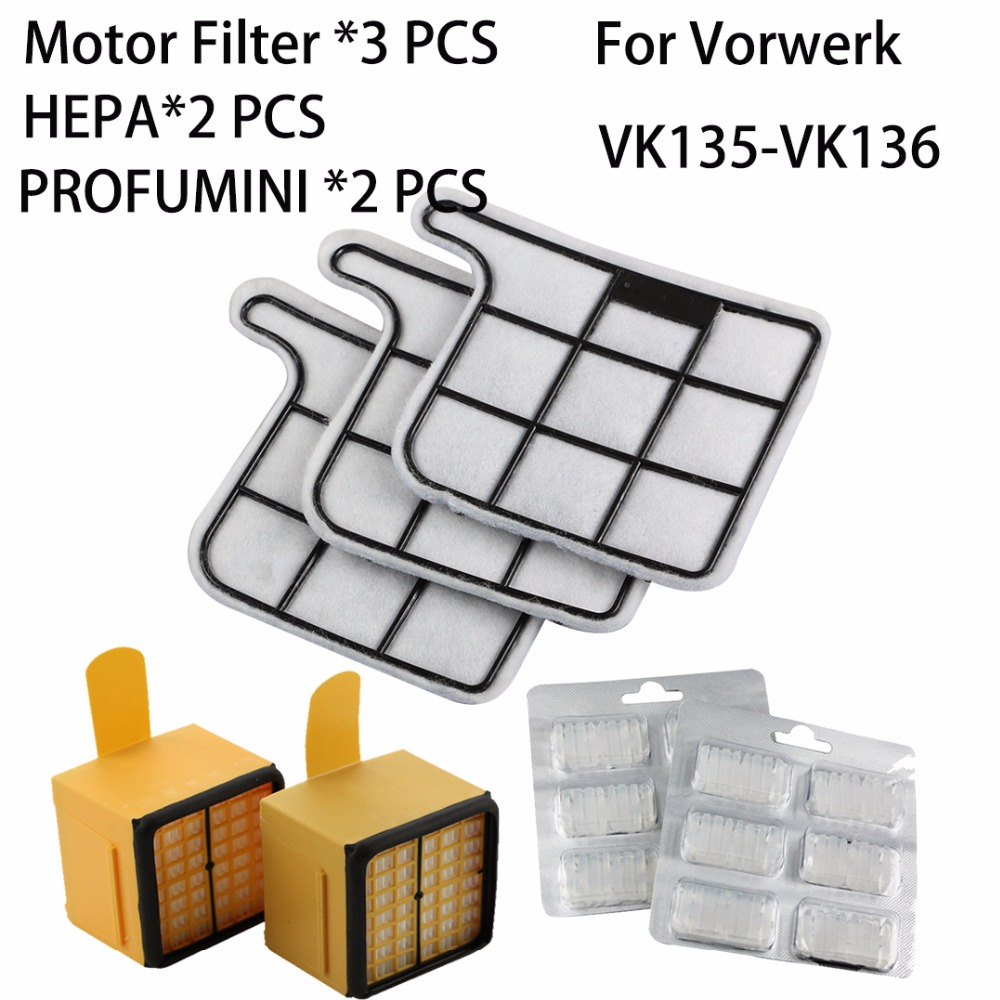 цена на Replacement 3X Motor Filter 2X Air Fresher 2X air filter HEPA for Vorwerk Kobold VK135 VK136 VK369 Vacuum cleaner spare part