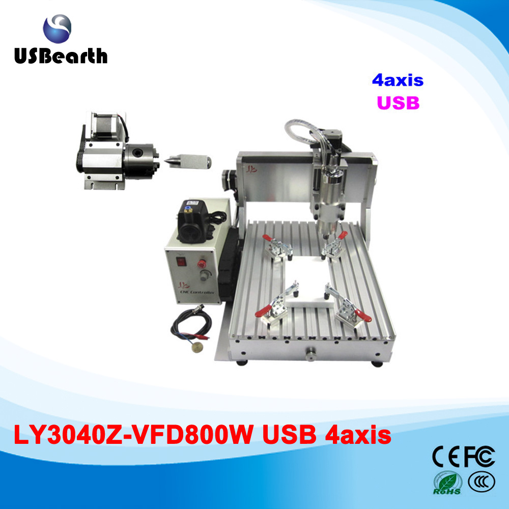 LY 3040Z-VFD800W USB 4 axis CNC router assembled drilling machine with USB port to Russia free tax no tax to russia factory new 4 axis cnc cutting machine with limit switch usb port 800w cnc router 3040 z usb
