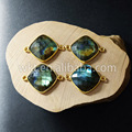 WT-C073 Natural  fashion square gold bezel link charm pendant high quality faceted Labradorite connector pendant