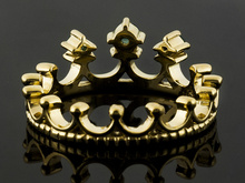 .17ctw Round Manchurian Peridot 18k Yellow Gold Over Sterling Silver Crown Band Ring