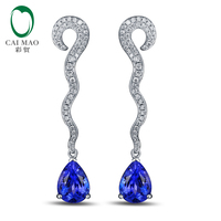 Free shipping 18KT/750 White Gold 2.49ct Natural Tanzanite 0.38ct Natural Round Cut Diamond Engagement Gemstone Earring Jewelry